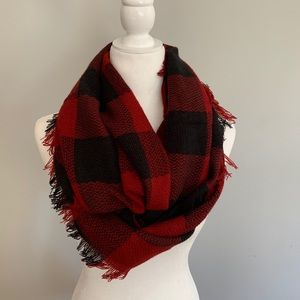 Accessories - Plaid Red & Black Infinity Scarf